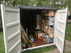 studio equipment / tools in front yard storage